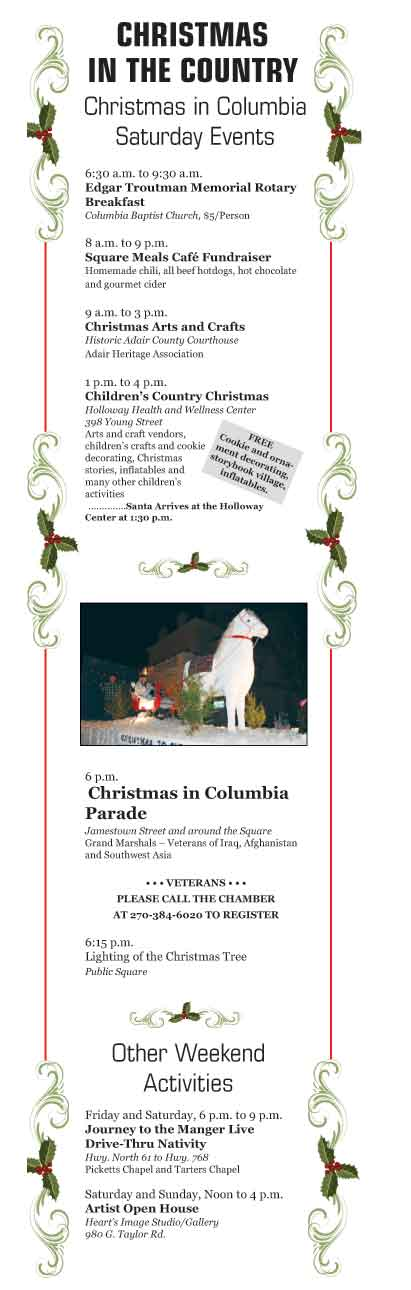 Christmas Schedle 2020 Getting Ready for Christmas in Columbia (see schedule here)