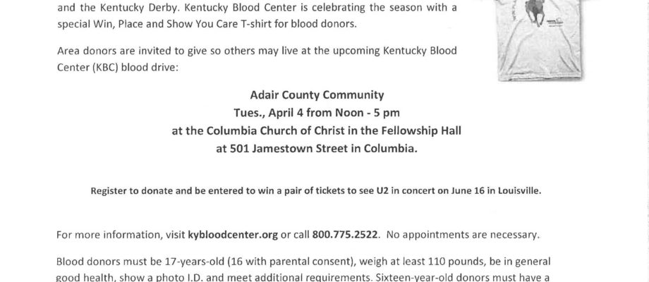 Upcoming Blood Drive April 4