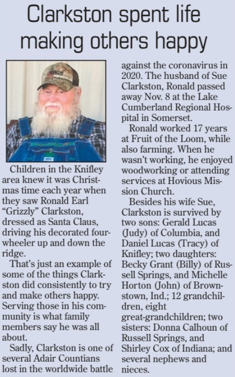 """Ronald Earl """"Grizzly"""" Clarkston"""
